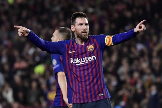 1deb420d714 Barcelona s Lionel Messi celebrates his 600th Barcelona goal.