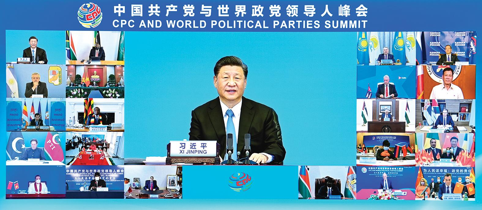 Xi Jinping, secretario general del Comité Central del PCCh y presidente chino, asiste a la Cumbre Mundial de Partidos Políticos y del PCCh y pronuncia un discurso de apertura en Beijing, el 6 de julio de 2021. Foto: Xinhua / Li Xiang