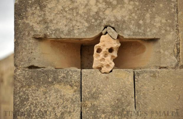 A skull-shaped rock is deliberately wedged into a wall creating a sculpture in Qrendi on March 9. Photo: Chris Sant Fournier