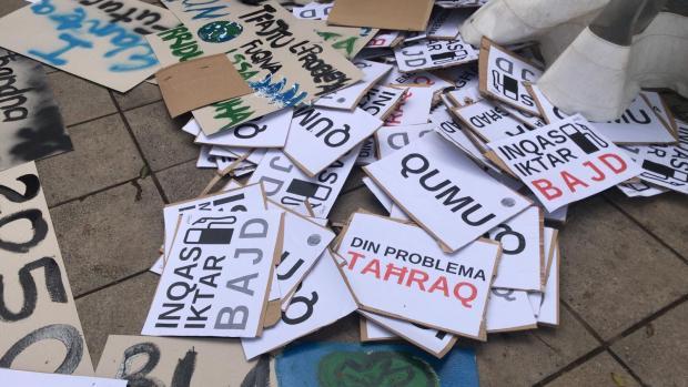 Placards prepared for the event. Photo: Mark Zammit Cordina
