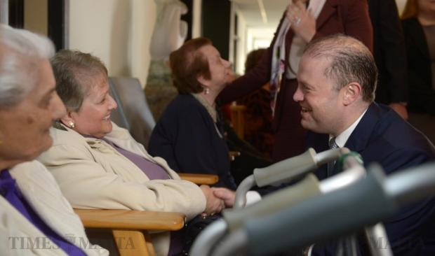 Prime Minister Joseph Muscat meets residents of the Mtarfa Old People's Home on February 22. Photo: Matthew Mirabelli