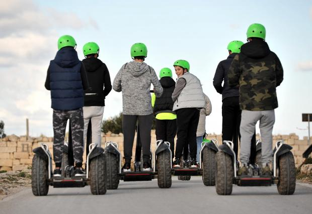 A group of children are taken on a Segway tour of Dingli Cliffs on January 13. Photo: Chris Sant Fournier