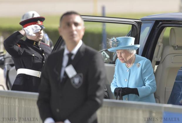Queen Elizabeth arrives at the Marsa Racetrack on November 28. Photo: Mark Zammit Cordina