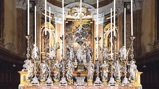 The 18th-century silver statues adorning the Mdina Cathedral's main altar. Photo: church.mt/photos