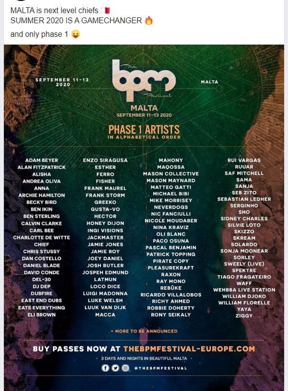 BPM Festival advertising its lineup.