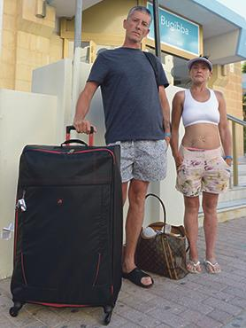 With only £60 in cash, Karen Johnson and Mark Rutling didn't have the money to pay for their rooms and were told to leave the hotel by 6pm yesterday. Photos: Matthew Mirabelli