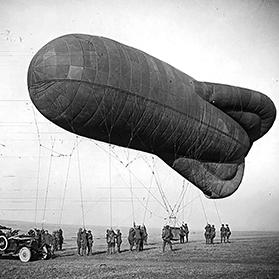 A kite balloon at the Imperial War Museum. Photo: Imperial War Museum