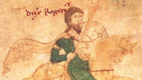 Roger II of Sicily. From the Liber ad honorem Augusti of Petrus of Ebulo, 1196.