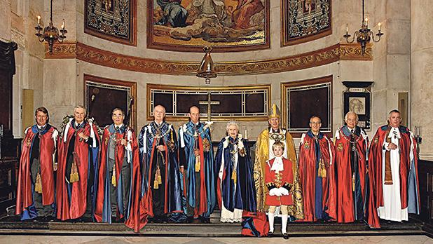 Queen Elizabeth II (Sovereign), the Duke of Kent (Grand Master) and officers of the Order of St Michael and St George, 2008.  Photo: The Central Chancery of the Orders of Knighthood, UK