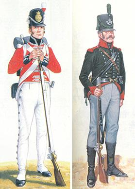 From left: Private, Regiment de Roll and Private, Corsican Rangers.