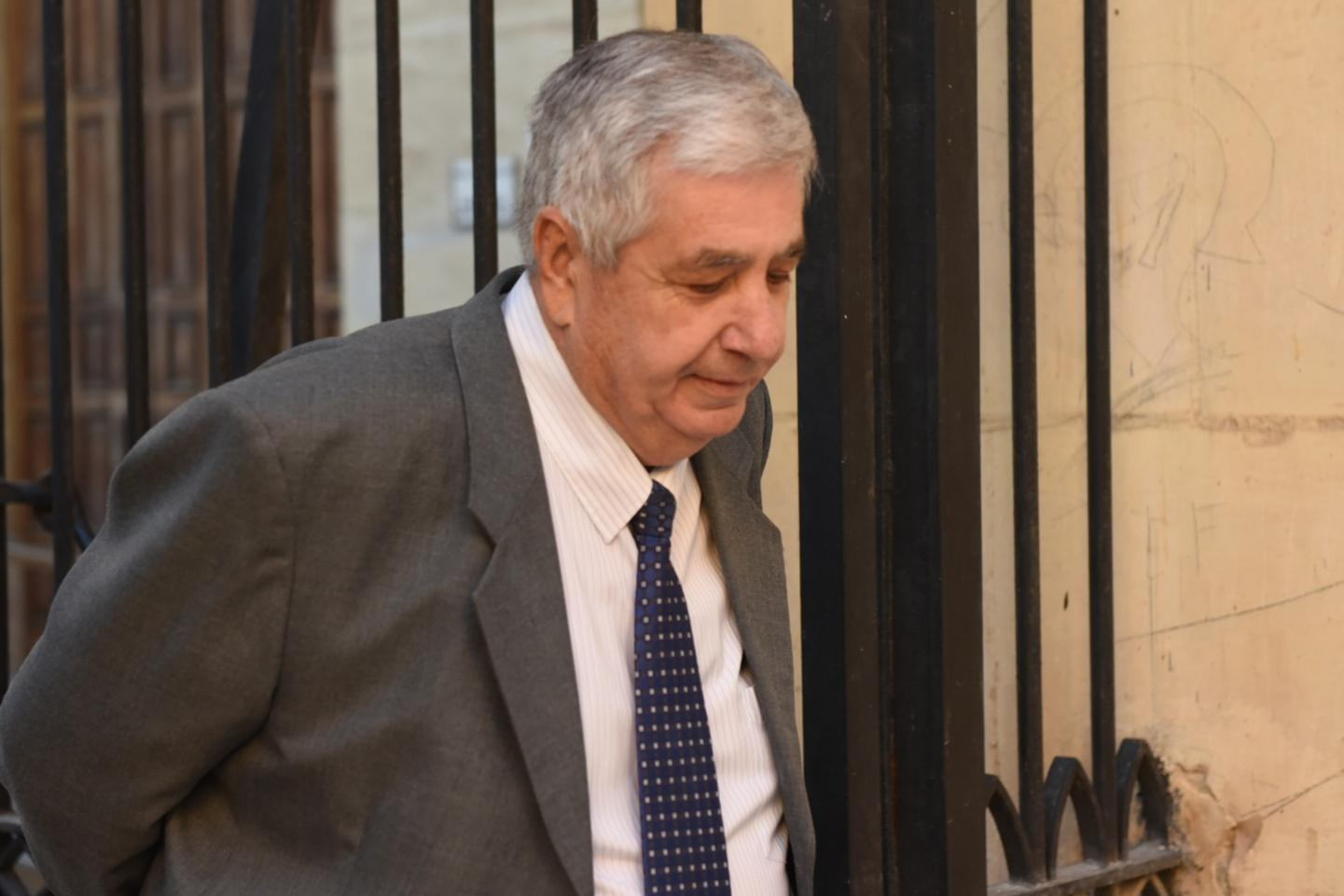 Former police commissioner John Rizzo leaves court on Tuesday. Photo: Chris Sant Fournier