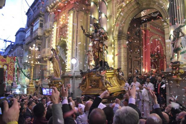 The statue of St Paul is carried out of the church during the feast of St Paul's Shipwreck in Valletta on January 30. Photo: Mark Zammit Cordina