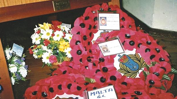 Malta's wreath at the memorial service in Plymouth, 2003.