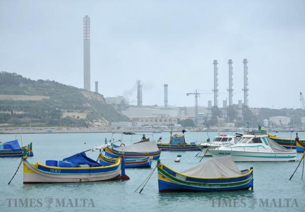 The Delimara power station looms in the background at Marsaxlokk on February 17. Photo: Chris Sant Fournier