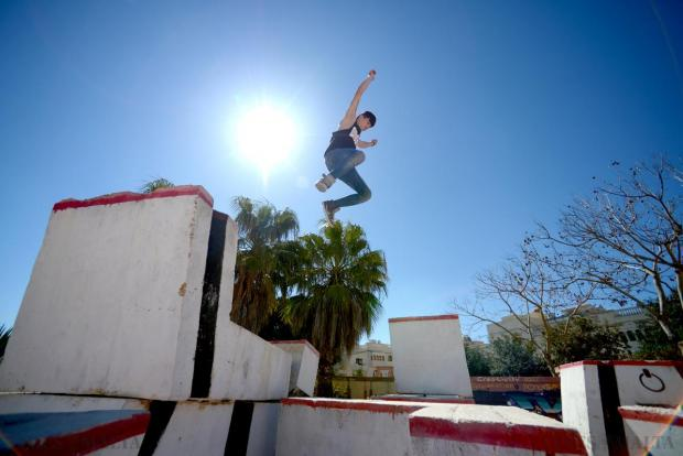 Isaac Camilleri demonstrates his parkour skills at a park in Mosta. Photo: Matthew Mirabelli