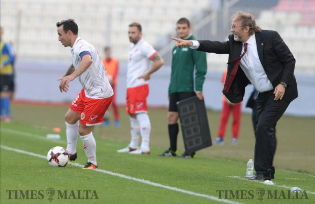 Malta football coach, Tom Saintfiet shouts instructions to his players during their International friendly match at the National Stadium in Ta'Qali on November 12. It was his first match as coach. Photo: Matthew Mirabelli