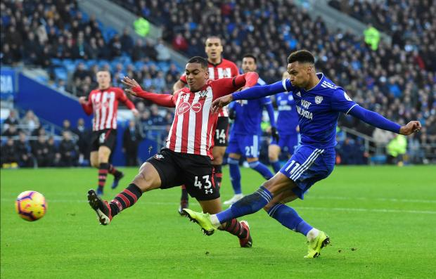 Cardiff City's Josh Murphy in action with Southampton's Yan Valery