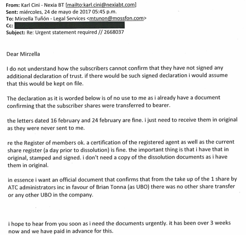 Karl Cini wrote to Mossack Fonseca asking them to issue a document saying Brian Tonna owned Egrant from day one.