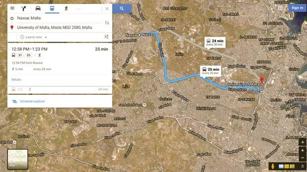 "Using Google to provide public transport information from Naxxar to University, as part of the Custom Travel Information Platform at the University of Malta (<a href=""http://www.um.edu.mt/iccsd/greentravel/cti"">www.um.edu.mt/iccsd/greentravel/cti</a>)."