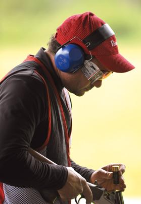 Brian Galea preparing for his Trap competition, yesterday. Photo: Matthew Mirabelli