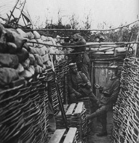 A strong German trench with reinforcements on the western front.