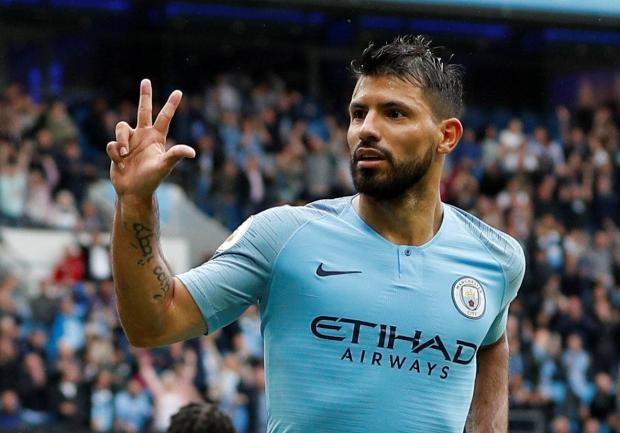 Sergio Aguero was in hot scoring form as he inspired Man. City to a crushing win over Huddersfield.