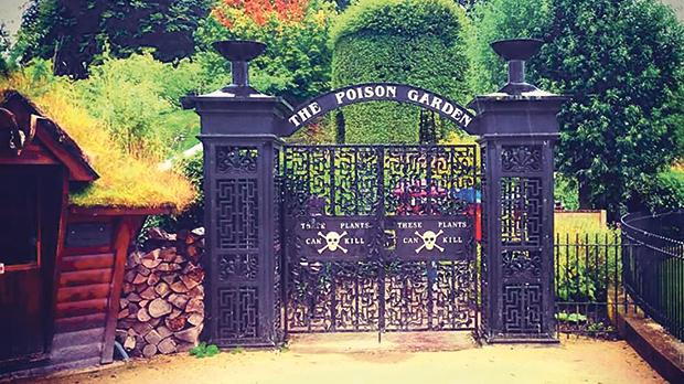 The entrance to the Poison Garden at Alnwick Castle, Northumberland, England.
