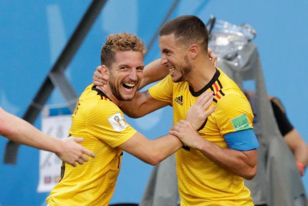 Dries Mertens (left) celebrates with Eden Hazard as Belgium beat England 2-0.