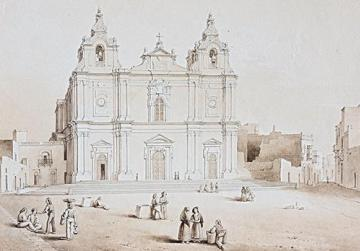 "Sant' Elena church, sepia. Giovanni Quintana's 1840 guidebook exhorted readers to go to see oil paintings Antonio Schranz had just finished of ""Malta's most beautiful churches"". Where are they? Deluded by the 'navy painters' myth, their owners are probably unaware they have 'a Schranz'."