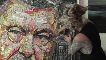 After Putin in bullets, artist paints Ukraine president in sweet wrappers
