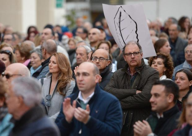 People gather in Valletta during a demonstration organized by the Civil Society Network in Valletta on December 3. Photo: Matthew Mirabelli