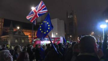 Pro-EU protesters revel in parliament defeat of Brexit deal