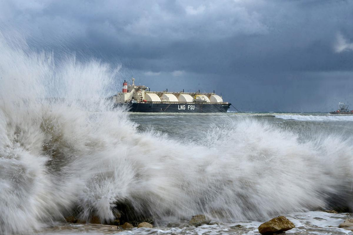 Gale-force winds whipped across the island on November 12, forcing the suspension of the Gozo ferry, the collapse of a road in Nadur and the repositioning of the LNG tanker in Marsaxlokk. Photo: Jonathan Borg