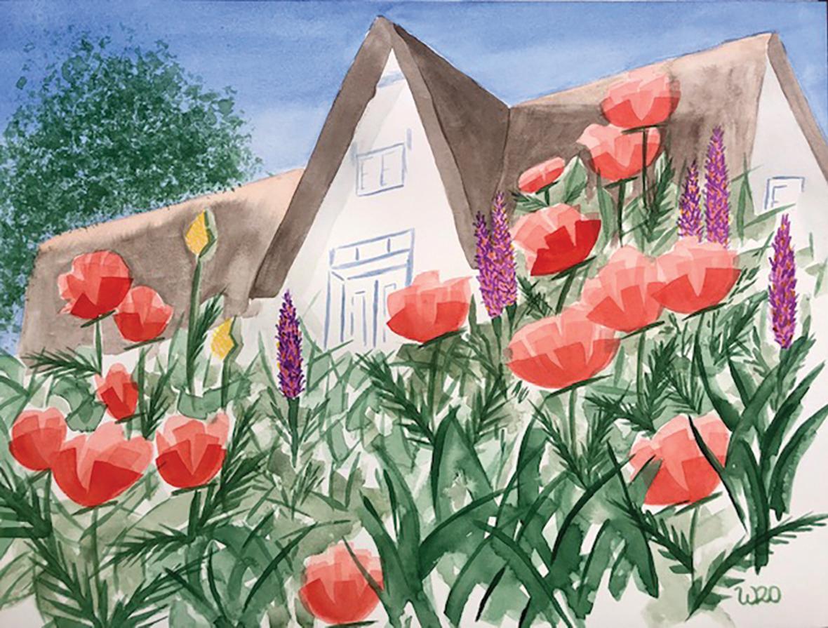 Betreff: Poppies in Sylt, watercolour on paper, by Wibke Seifert