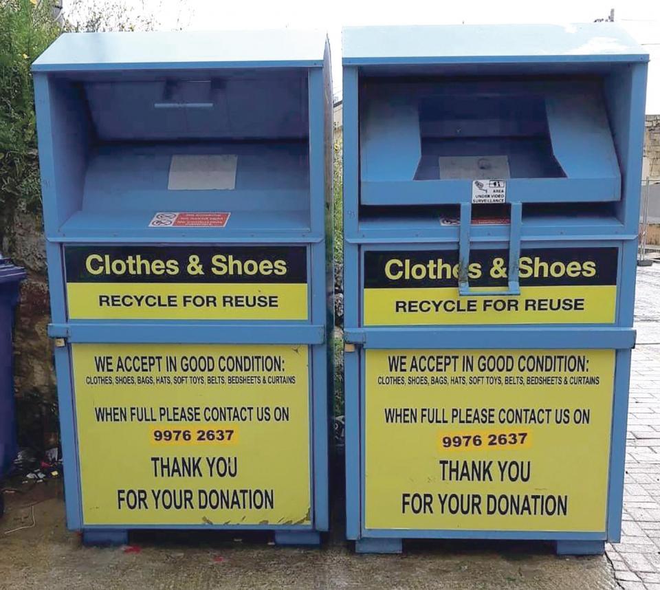 Blue Light Partnership recycling bins.
