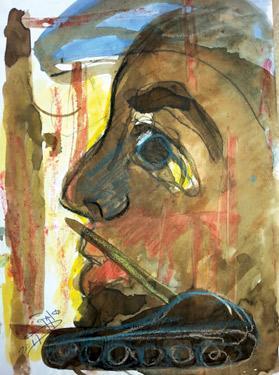 Rebel – mixed media by Matug Aborwai.