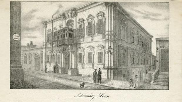 Lithographed side view of the Army Commissariat in Strada Mezzodi, Valletta, corner with Strada Zecca, the office of Lt Alexander Fernandez.