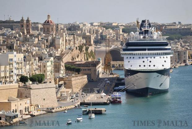 A cruise liner is berthed alongside Senglea on October 5. Photo: Chris Sant Fournier