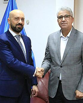 Neville Gafà (left) with the Libyan Interior Minister Commissioner Fathi Pasha last week.