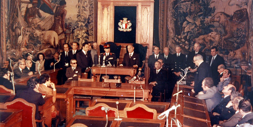 Parliament greeting Gaddafi in the Old Tapestry Chamber in the early 1970s.