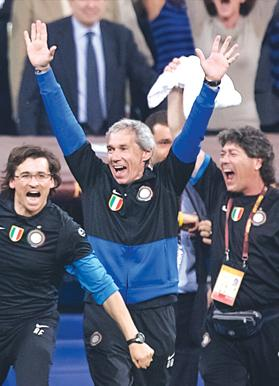 Joy... Giuseppe Baresi raises his arms in jubilation as Inter are crowned European champions in 2010. Photo: Paul Zammit Cutajar