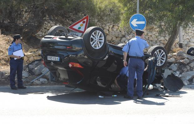 Police inspect a car which flipped over in Burmarrad on June 17. Photo: Matthew Mirabelli