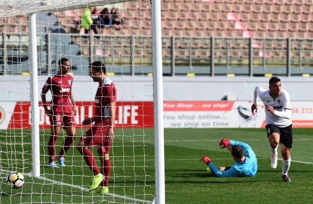 Jake Grech (right) reacting after scoring Hibernians' winner against Gżira United. Photo: Mark Zammit Cordina