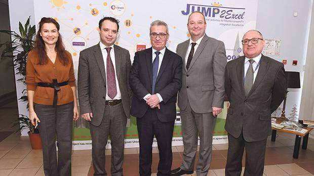 Education Minister Evarist Bartolo (centre) with other Mcast officials at the project launch.
