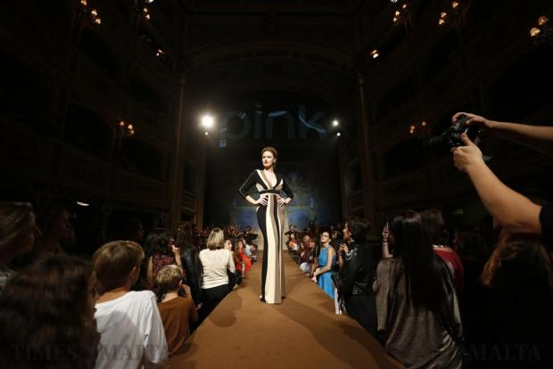A model presents a creation by Rebelli during the Pink Fashion Show at the Manoel Theatre in Valletta on November 15. Photo: Darrin Zammit Lupi