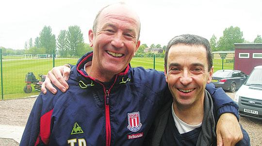 Tony Pulis (left) with Ray Calleja after a Stoke City training session last week.