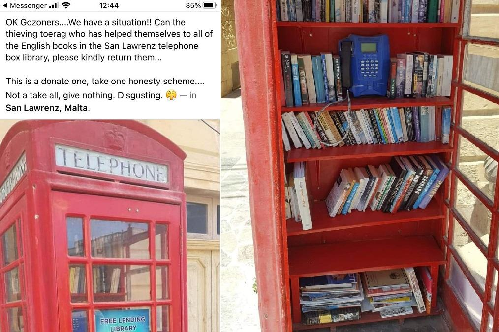 The Facebook post (left) and the bookshelves almost full once more on Thursday morning.
