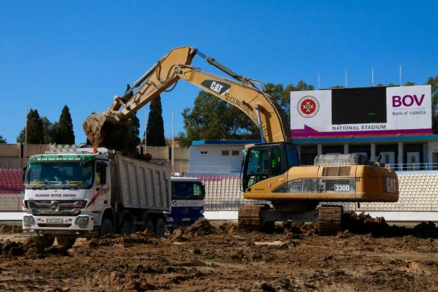 Works get underway to completely revamp the football pitch at the National Stadium in Ta' Qali for the first time in 36 years on June 3. The stadium will be receiving a new drainage system, laying of gravel and installation of brand new grass. Photo: Steve Zammit Lupi