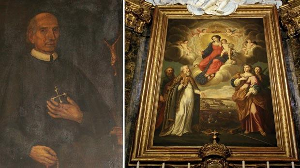 Fr Simon Schembri in a portrait in the church's sacristy. Photo: Victor Caruana. Right: The titular painting of Our Lady of Porto Salvo by Stefano Erardi. Photo courtesy Porto Salvo church