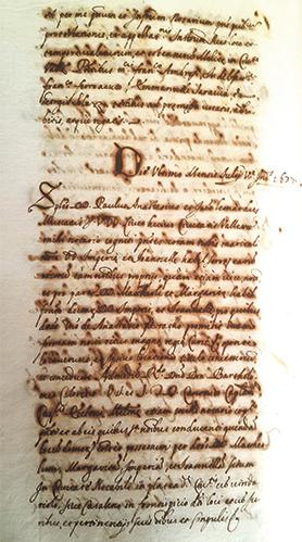 First page of the manuscript at the Notarial Archives recently discovered by Paul Camilleri and Dr Joan Abela, relating to the Vittoriosa murder.